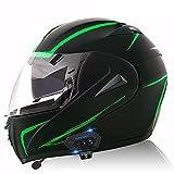 Bluetooth Casco Moto Modular ECE Homologado Integrado Casco de Moto Scooter para Mujer Hombre Adultos con Doble Visera - Potenciador subnoche E,XL