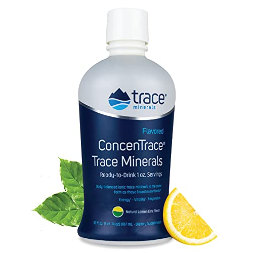 Flavored ConcenTrace Trace Minerals Electrolytes (Lemon Lime) ConcenTrace Trace Minerals Drops with Natural Fruit Concentrates, Organic Agave and Stevia Blend, Electrolyte Supplements Liquid, 30 Fl Oz