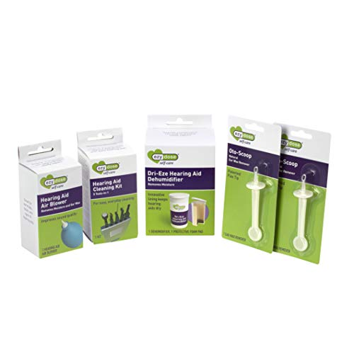 Ezy Dose Hearing Aid Cleaning Tools Kit | Includes Dehumidifier and Ear Wax Cleaner | Small Kit for Home or Travel | For Easy, Everyday Cleaning
