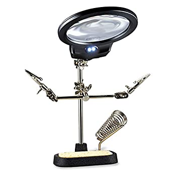 Hi-Spec 1 Piece Helping Hands Solder Stand with Magnifying Lens & LEDs Third Hand Iron Base Holder with Adjustable Clips for Clamping in Electronics Models Hobby & Craftwork