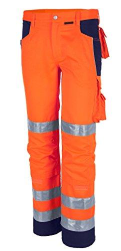 Qualitex Warnschutz-Bund-Hose Arbeits-Hose PRO MG 245 - orange/marine - Größe: 54