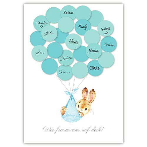 Pandawal Babyparty Deko Junge Gästebuch Alternative Baby Shower Set Hase (blau) Gastgeschenk Taufe...
