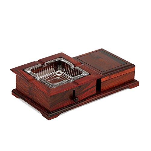 LALAWO voor sigaar of sigaret Redwood glas kristal salontafel asbak huishouding massief hout creatieve retro multifunctionele Chinese grote asbak