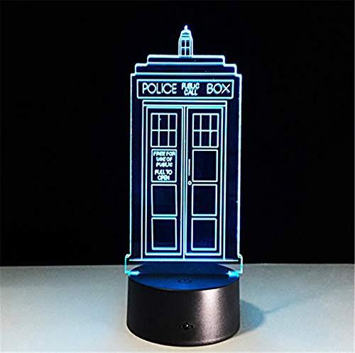 HYDYI 7 Farben Ändern Lampe Police Box 3D Lampe Acryl LED USB Tischlampe Tardis Lichter Multi-Farbiges Licht