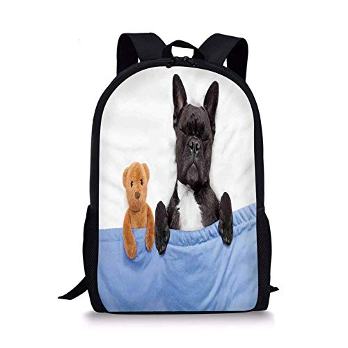 School Bags Animal Decor,French Bulldog Sleeping with Teddy Bear in Cozy Bed Best Friends Fun Dreams Image,Multi for Boys&Girls Mens Sport Daypack