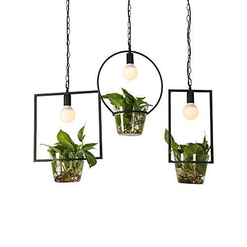 SELMAL Nordic Light hangmat, van glas, creatief, met groene plant, bloempot, voor eten, kantoor, pastoral librairie, groene decoratie