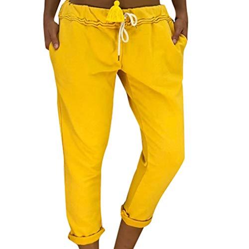 VRTUR Damen Harlem Hosen Solid Elastische Taille Yoga Capris Boho Check Hosen Haremshose Sommer Elegant JoggeHose Jersey-Hose Gelb XXL