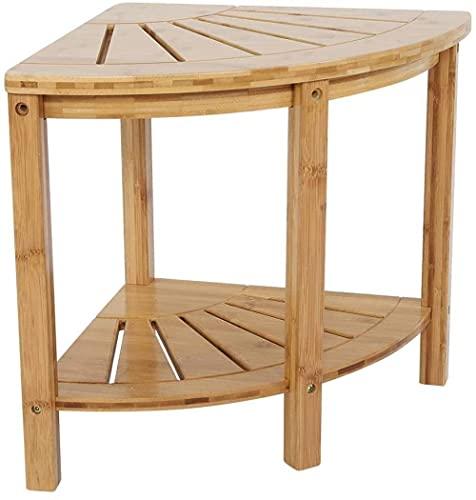 2 Tier Bamboo Angolo Doccia Bench da Doccia w/Scaffale per Bagno Bath Spa Sgabello Doccia Sgabello Angolo Sgabello da Tavolo Angolo Bamboo Doccia Box Doccia Organizer Excellent