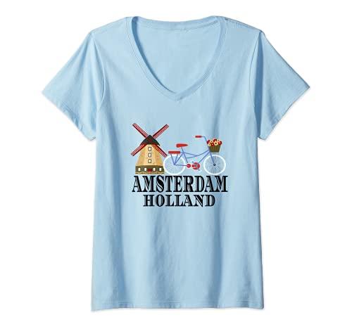Donna Mulino a vento di Amsterdam Paesi Bassi Maglietta con Collo a V