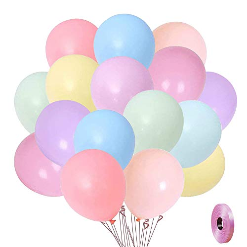 Pastel Rainbow Balloons, 100 Pack 12 Inches Assorted Color...