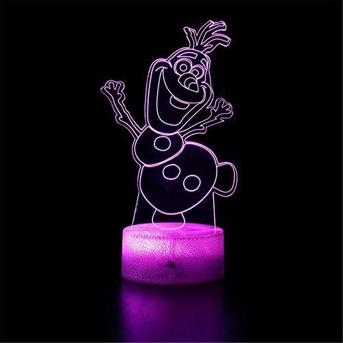 Frozen - Lámpara de noche 3D para niños, 16 colores que cambian la lámpara de noche con mando a distancia, regalo de cumpleaños para niños y adultos