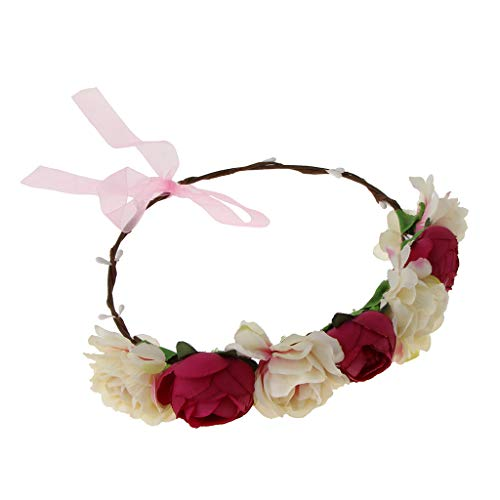 Generic Noiva de Seda Camélia Flor Grinalda Casamento Acessórios para O Cabelo Rosa Vermelha - Rosa Vermelha
