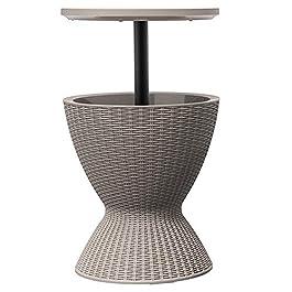 Outsunny Seau à Glace Table Basse 2 en 1 Ø 48 x 57-81,5H cm métal époxy résine tressée Imitation rotin café Clair
