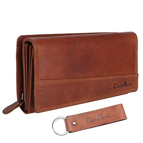 Chunkyrayan Damen Portemonnaie Echtleder XXL RFID Schutz inklusive Leder Schlüsselanhänger GB-5 Brown 1