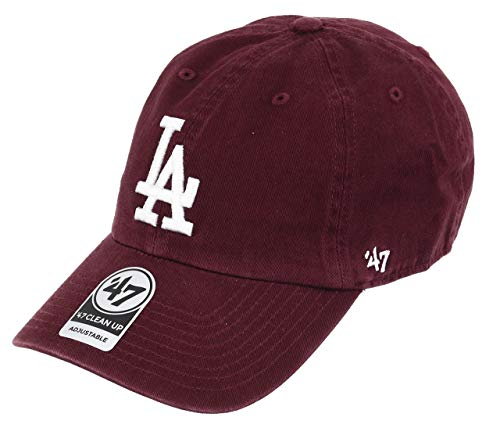 47 brand Los Angeles Dodgers Adjustable Cap Clean Up MLB Dark Maroon/White - One-Size