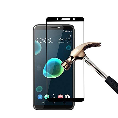 QULLOO HTC Desire 12+ / HTC Desire 12 Plus Panzerglas Schutzfolie Film, 9H Verbesserte gehärtetes Glas Folie Blasenfrei Selbst für HTC Desire 12+ / HTC Desire 12 Plus Folie - Schwarz