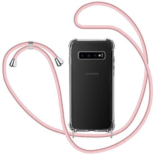 Funda con Cuerda para Samsung Galaxy S10, Carcasa Transparente TPU Suave Silicona Case con Correa Colgante Ajustable Collar Correa de Cuello Cadena Cordón para Samsung Galaxy S10 - Oro Rosa