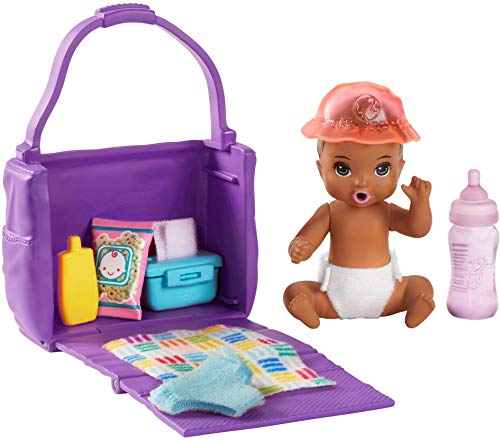 ?Barbie Skipper Babysitters Inc. Feeding and Changing Playset with Color-Change Baby Doll, Open-And-Close Diaper Bag and 7 Accessories