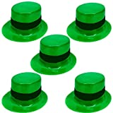 St. Patrick's Day Leprechaun Mini Green Hats - Costume Accessory or Table Centerpiece Decorations - Small Plastic Party Hats - 5 Piece Set