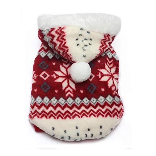 Nigoz - 1 sudadera con capucha para perro, diseño de copos de nieve de Navidad