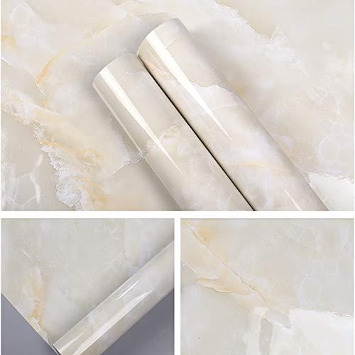 Concus-T Marmoreffekt Kontaktpapier Wasserdichte Küche Tapete Kamin Deko Wandaufkleber, Umweltfreundlicher Kunststoff, Angenehmer natürlicher Jade-Stoff, 60 × 300CM