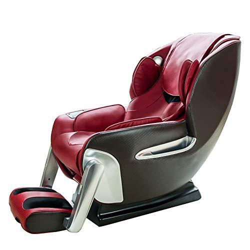 YS-S002 Poltrona da Massaggio, Poltrona a gravità Zero Automatica Multifunzione 4D massaggiatrice/Massaggio a Mano con Simulazione/con Altoparlante Bluetooth,Red