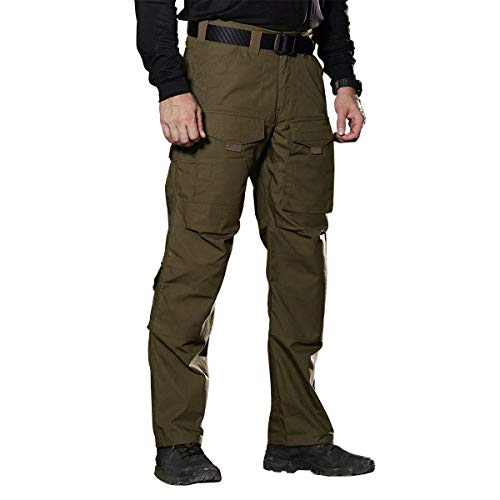 FREE SOLDIER Outdoor Men Teflon Scratch-Resistant Pants Four Seasons Hiking Climbing Tactical Trousers(Dark Green 37.5W / Large)