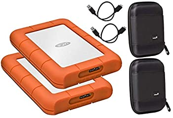 LaCie 2 Pack 2TB Rugged Mini USB 3.0 USB 2.0 Compatible External Hard Drives Compatible with Mac and PC - Water and Drop Resistance with Compact Pocket Case Compatible with LaCie LAC9000298 Hard Drive