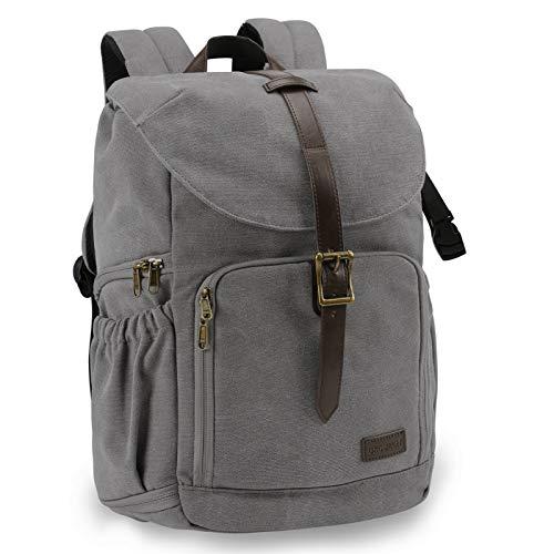 BAGSMART Kamera-Rucksack, wasserabweisende DSLR-Kameratasche aus Segeltuch für bis zu 15 Zoll Laptops mit Regenschutz, Stativhalterung für Damen und Herren, grau