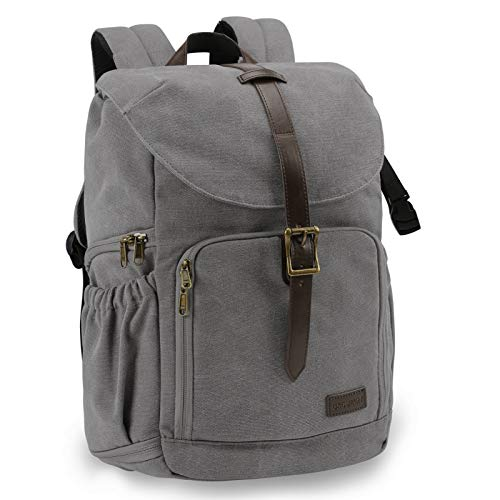 BAGSMART Camera Backpack, Anti-Theft DSLR SLR Camera Bag Water Resistant Canvas Backpack Fit up to 15' Laptop with Rain Cover, Tripod Holder for Women and Men (Grey)