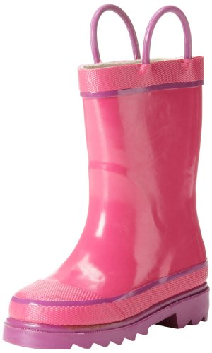 Western Chief Kids Waterproof Rubber Classic Rain Boot with Pull Handles, Pink, 2 M US Little Kid