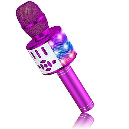 BONAOK Microfono Bluetooth Karaoke Adulti, Portatile Microfono Che Cambia la Voce con Altoparlante, Microfono Karaoke Bluetooth Wireless per la Festa in Casa, Compatibile con iPhone/Android (Viola)