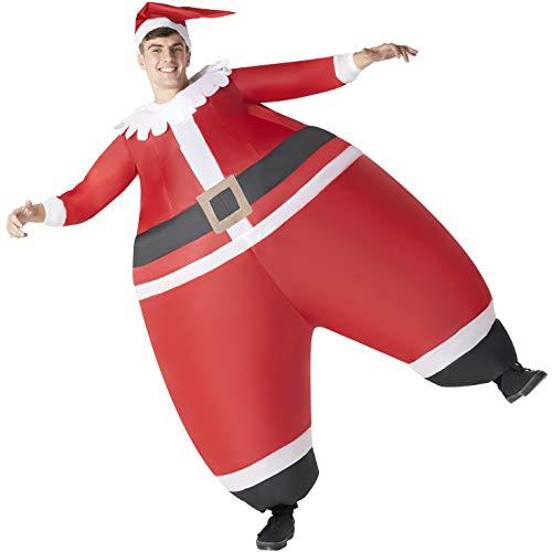 Morph Riesiges Aufblasbares Weihnachtsmann Kostüm für Erwachsene, Weihnachtskostüm zum Springen - Einheitsgröße