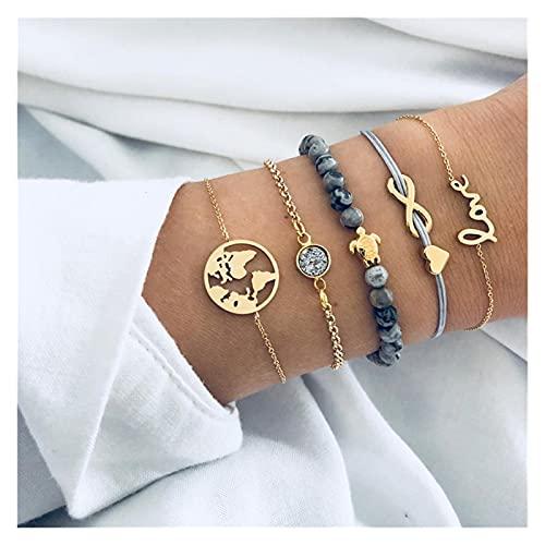 tggh Pulsera de mujer para mujer, conjunto de pulseras bohemias con cuentas de tortuga y cadena de cuentas de cuero multicapa para regalo de joyería de oro (color metálico: 82942)