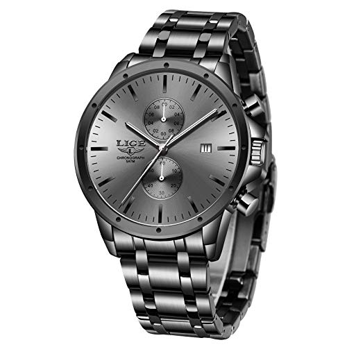 LIGE Relojes para Hombre Negro Negocios Cronógrafo Puntero Colorido Reloj para Hombre Banda de Acero Inoxidable Diseño de Moda Reloj de Pulsera Analógico de Cuarzo Impermeable