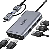 USB to Dual HDMI Adapter, USB 3.0 Dual HDMI Adapter, USB Hub with 4K 30Hz HDMI, USB Port, External Video & Graphics Card - Dual Monitor Display Adapter - Supports Windows/Mac OS