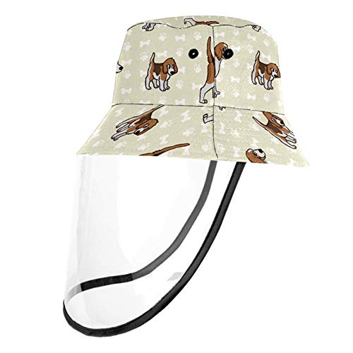 Kids Summer Play Hat UPF 50+ Bucket Travel Hat Removable Sun Cap for Boys and Girls - Cute Boxer Dog Pattern