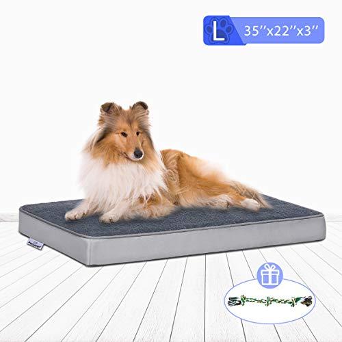 FOCUSPET OrthopedicDogBed, MemoryFoamDogBedOutdoorDogBedMattressforCratewithRemovableWashableCoverforSmall,Medium,LargeDogsSizeLagre(35''x22''x3'') IncludesChewToy Beds