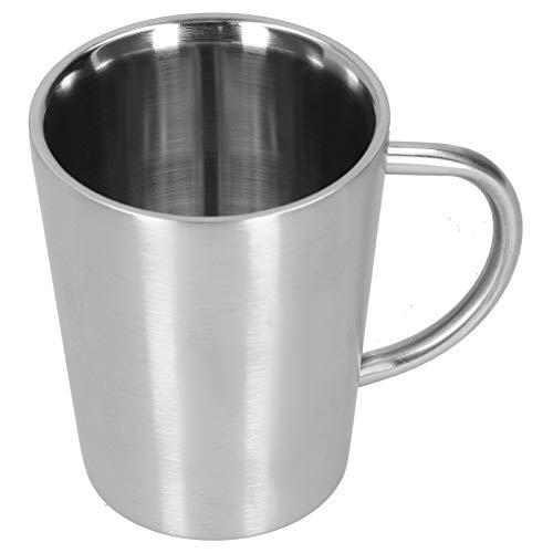 Taza de cerveza Taza de agua Taza de café de doble pared de acero inoxidable, Accesorios para beber en el hogar Taza de aislamiento térmico y anti escaldado, 340 ml(Plata)