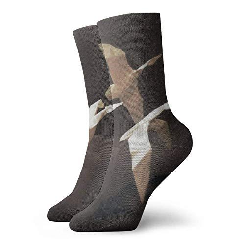 Hangdachang Socken für Damen und Herren, weiße Papiervögel, Fußballsocken, Sportsocken, Röhrenstrümpfe, Länge 30 cm