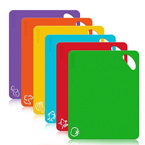 Juego de tableros de corte de plástico flexible extra grueso - Alfombrillas con iconos de alimentos y manijas fáciles de agarrar, sin BPA, sin poros, aptas para lavavajillas por Olivivi - Juego de 6