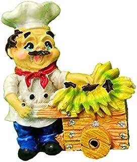 Shiani Hand Painted Chef Fruit Gadi Poly Resin Fridge Magnet (Multicolour) (Banana)