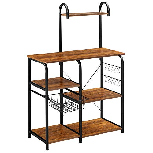 Mr IRONSTONE Vintage Kitchen Baker's Rack Utility Storage Shelf 35.5' Microwave Stand 4-Tier+3-Tier Shelf for Spice Rack Organizer Workstation with 10 Hooks