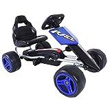 Aosom Kids Go Kart, 4 Wheeled Ride On Pedal Car, Racer for Boys and Girls for Outdoor - Blue