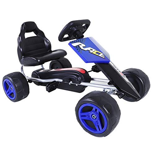 Aosom Kids Go Kart, 4 Wheeled Ride On Pedal Car, Racer for Boys and Girls for Outdoor - Blue