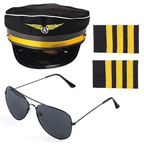 Beelittle Airline Pilot Captain Kostüm-Set Pilot Dress up Zubehör-Set mit Aviator-Sonnenbrille (A)