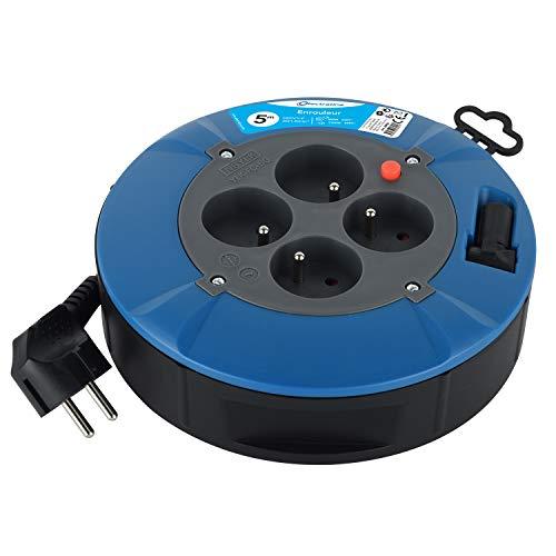 Electraline 28905 Enrouleur Rallonge Ménager Domestique avec 4 Prises 16A, Câble 5M-Section 3G1 mm², Blue
