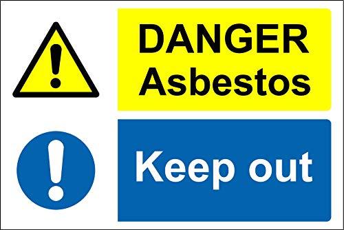 Gevaar asbest houden Veiligheidsbord - Zelfklevende sticker 400mm x 300mm