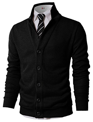 H2H Mens Casual Slim Fit Knitted Cardigan with Pocket Black US M/Asia L (KMOCAL0182)