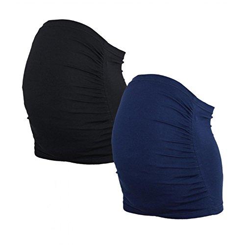 Alkato Damen Schwangerschaft Bauchband 2er Pack, Farbe: Dunkelblau/Schwarz, Größe: XXL